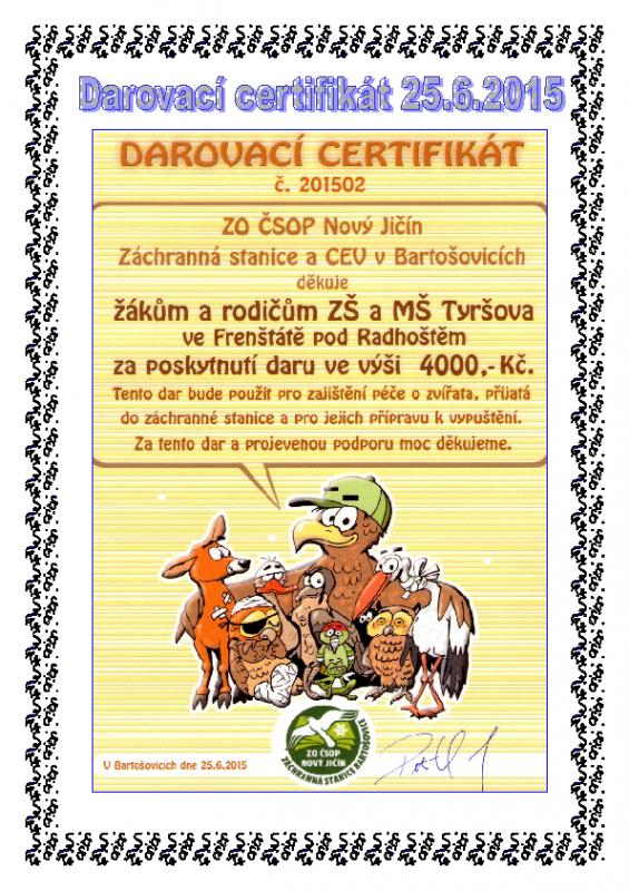 Darovací certifikát Bartošovice