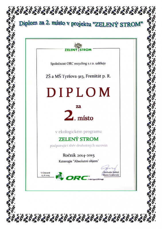 Diplom za 2. místo ve sběru papíru